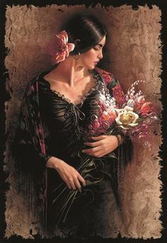 Las Flores by Lee Bogle is a Signed Numbered Limited Edition Giclee on Canvas from A Lee Bogle original painting of a young woman and a bouquet of flowers. Texas Art Depot is the Lee Bogle Gallery in East Texas Mexican Artwork, Foto Art, Art Plastique, Portrait Art, Beautiful Paintings, Art Images, Bing Images, Female Art, Vintage Art