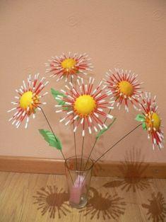 Очаровательные цветы из ватных палочек - Поделки с детьми   Деткиподелки