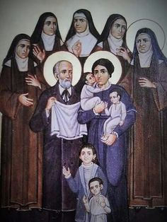 St Therese and her family - Happy Feast of Bls. Louis and Zelie Martin (July 12) - the little ones are representations of the children that died in childhood - if you or someone you know have borne such a cross, perhaps Louis and Zelie for help