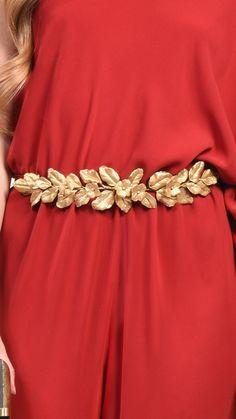 cinturón dorado hojas verdemint