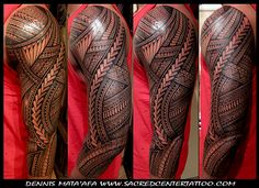 sleeve by dennis mata'afa of sacred center tattoo, las vegas...... This is friggin' sick! I wish someone local could do this style.