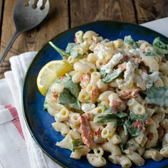 Smoked Salmon Macaroni Salad with Spinach, Lemon and Goat Cheese | Food & Wine