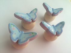 Soft Blue and Lavender Butterfly knobs draw by PeachBlossomStudio