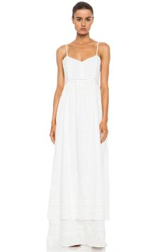 Band of Outsiders Tiered Cotton Maxi Slip Dress in Ivory
