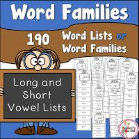 Word Families In List Form Word Families Reading Words Phonics Help