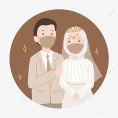 Romantic Anime Couples, Cute Muslim Couples, Cute Couples, Boy Illustration, Wedding Illustration, Thanks Card Wedding, Wedding Couple Cartoon, Wedding Drawing, Foto Wedding