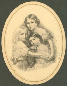 """Portrait of the three daughters of American poet Henry Wadsworth Longfellow. The original still hangs in the dining room of Longfellow's home in Cambridge, MA. The image was used during the children's lifetimes to illustrate the poem """"The Children's Hour,"""" which refers to """"grave Alice"""" (top), """"laughing Allegra"""" (right), and """"Edith with golden hair"""" (left).  DateOriginal portrait circa 1850s.  Print after a portrait by Thomas Buchanan Read (d. 1872) SourceNYPL Digital Gallery via Wikipedia"""