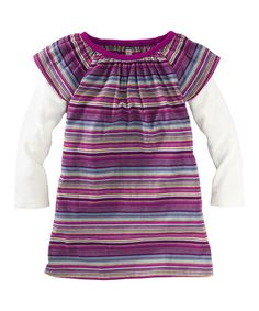 Take a look at this Cosmic Berry Fresh Finn Stripe Layered Dress - Infant & Girls by Tea Collection on #zulily today!