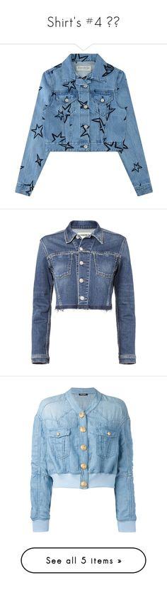 """Shirt's #4 😍💕"" by lazyloveanija ❤ liked on Polyvore featuring outerwear, jackets, long sleeve denim jacket, embroidered denim jacket, blue cropped jacket, collar jacket, embroidered jean jacket, denim, blue jackets and denim jacket"