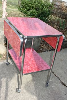 Mid Century Modern Red Formica/chrome Drop Leaf Serving Storage Cart Table