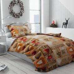 Bavlněné povlečení hnědé béžové oranžové romantické provence shabby srdce dřevo vzorované rustikální krajka Provence, Comforters, Shabby, Blanket, Bed, Home, Creature Comforts, Quilts, Stream Bed