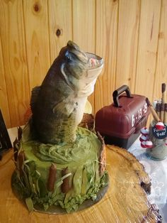 Large Mouth Bass Groom's Cake. Photos of Themed Birthday Cakes and Grooms Cakes Little Rock - Natalie Madison's Artisan Cakes Little Rock