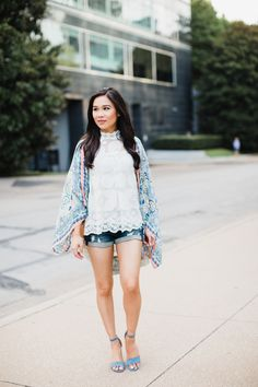 Lemon lace blouse with a printed kimono and blue block heels