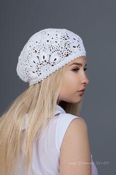 Crochet  summer women's hat beret, white crochet flower hat, lace summer hat