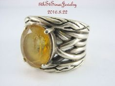 Effy 925 Lagoon Sterling Silver Citrine Wide Band Ring Size 7 #Effy #Band