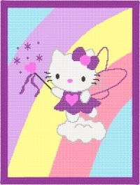 Hello Kitty Rainbow Afghan Blanket Crochet Pattern