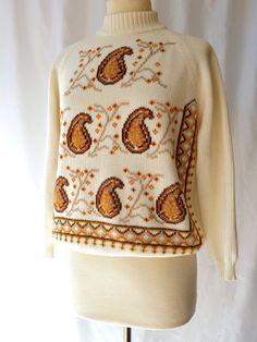 Mod Paisley Top    Vintage 60s Sweater     M / by ModLoungeVintage, $22.00