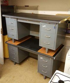 ebay office desks. Retro Vintage Matching Pair Grey Metal Rounded Black Rubber Top Office Desks | EBay Ebay U