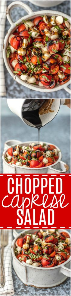 Chopped Caprese Salad is the perfect easy side dish for any BBQ! Simple, delicious, and healthy! Tomato, Mozzarella, Basil, and Balsamic Vinegar. A family favorite! via @beckygallhardin