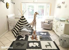 Beautiful Black and White Playroom using SoftTiles Safari Animals Black, Gray, White.