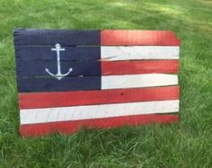 Anchor American Flag Reclaimed Wall Hanger 40 x by CandBWoodShop