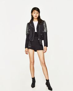 ZARA - WOMAN - BIKER-STYLE JACKET WITH EMBROIDERED SHOULDERS