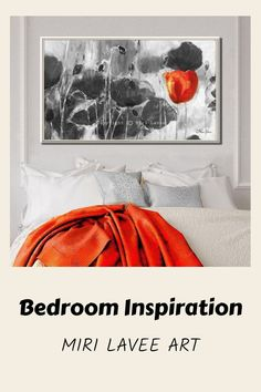 The unique asymmetry and contrast between the monochrome & the fiery red make this large flower wall art a great choice for the bedroom decor. Art by Miri Lavee #livingroomart #livingroomwallart #blackwhiteart #greywallart #flowerart #poppy #mirilavee Flower Canvas Art, Large Canvas Art, Large Wall Art, Flower Art, Canvas Wall Art, Bedroom Canvas, Bedroom Art, Flower Wall Decor, Floral Wall Art