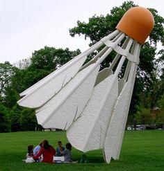 Kansas City Sculpture Park has  a four-part outdoor sculpture of oversize badminton shuttlecocks by Claes Oldenburg and Coosje van Bruggen.