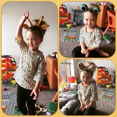 Dress up time!! Is it a giraffe is it a frog nooooo it's a cat!!