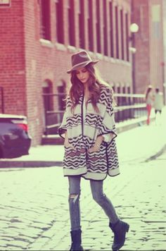cape and super chic hat