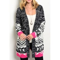 """Winter Brights Cardigan Beautiful charcoal, white and pink colored cardigan that is long and perfect for every winter wardrobe! Pretty Aztec pattern all around bottom! Length is 34"""". 75% Acrylic 25% Mohair ✨Brand new without tags and straight from retailer! •No Damages•No Trades•No PayPal• Sweaters Cardigans"""