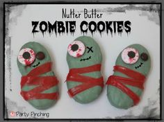 zombie halloween cookies, zombie theme party, nutter butter zombie cookies, cute zombie dessert, easy zombie treats zombie snack