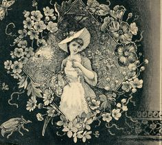 Vintage Ephemera: Engraved catalog image, Victorian girl in floral border, 1886 Vintage Flower Prints, Vintage Flowers, Vintage Floral, Etiquette Vintage, Victorian Wallpaper, Black And White Wallpaper, Black White, Christmas Wall Art, Vintage Ephemera