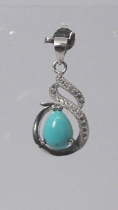 Sterling Silver Reconstituted Turquoise Pendant Solid 15 mm 38 mm Fashion Pendants /& Charms Jewelry