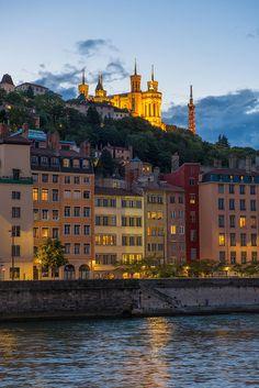A quiet evening stroll along the Rhone, Lyon, France.