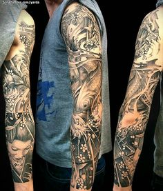 Koi Tattoo Sleeve, Realistic Tattoo Sleeve, Japanese Sleeve Tattoos, Best Sleeve Tattoos, Tattoo Sleeve Designs, Forearm Band Tattoos, Forearm Tattoo Design, Body Art Tattoos, Krebs Tattoo