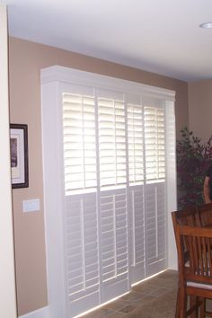"Consider plantation shutters for your slider door. Or for your closet doors. So easy to use! Window ""furniture"" for your home. Pinned by Budget Blinds of Livonia"