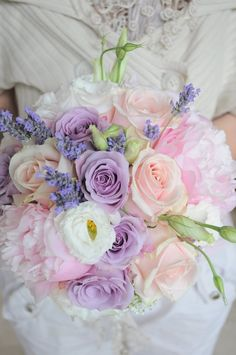 Beautiful bouquet - peach blush lavender lilac pink ivory white