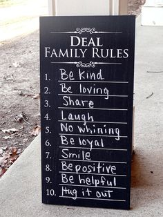 Items similar to Personalized Family Rules Chalkboard Sign on Etsy