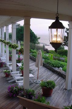 View from a veranda in Boothbay Harbor, Maine Cabana, Porches, Outdoor Spaces, Outdoor Living, Boothbay Harbor Maine, Beautiful Homes, Beautiful Places, Vacation Places, The Ranch
