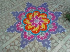 Rangoli Designs Flower, Rangoli Designs Diwali, Rangoli Designs Images, Kolam Rangoli, Beautiful Rangoli Designs, Simple Rangoli, Mehandi Designs, Latest Rangoli, Muggulu Design