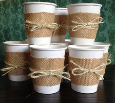 Items similar to Burlap Cups for a Wedding Shower, Bridal Shower, Wedding, Baby Shower or Birthday Party. Centerpieces on Etsy Otoño Baby Shower, Baby Shower Themes, Shower Ideas, Diy Shower, Baby Showers, Comida Para Baby Shower, Burlap Party, Hot Chocolate Bars, Chocolate Topping