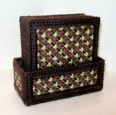 Set of Six Cross Stitch Coasters with Holder, $32.00