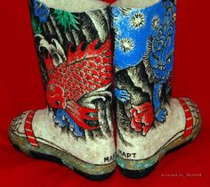 Hand Painted Boots by Valenki