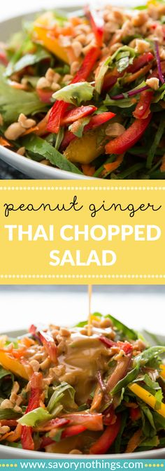 A clean, fresh and healthy Asian chopped salad recipe with yummy Thai flavors! Combine it with the best bright and tangy peanut ginger lime dressing!