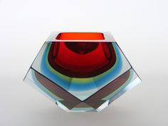 Murano sommerso red, green and blue faceted glass bowl