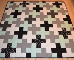 Mint and Grey Plus Quilt/ Cross Quilt/ Plus by plusminusdesigns