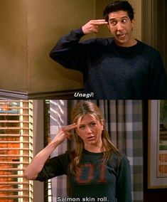 """Friends"" Were Our Friends Unagi. Ahh salmon skin-roll :) Friends Ross and RachelUnagi. Ahh salmon skin-roll :) Friends Ross and Rachel Friends 1994, Tv: Friends, Serie Friends, Friends Scenes, Friends Leave, Friends Episodes, Friends Moments, I Love My Friends, Friends Tv Show"