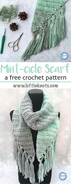 The Mint-cicle Scarf is a free, beginner-friendly crochet pattern with a modern twist. It takes just one skein of Lion Brand Scarfie yarn and it will be a perfect addition to your last-minute gift list this holiday season! It is the first free crochet pattern of my Seven Days of Scarfie pattern collection. #crochet #freecrochetpatterns #crochetscarf