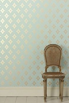 can't wait to redecorate my home with shiny wallpaper - farrow + ball Graphic Wallpaper, Fabric Wallpaper, Metallic Wallpaper, Wallpaper Patterns, Mint Wallpaper, Geometric Wallpaper, Metallic Paint, Teal Wallpaper Accent Wall, Metallic Gold